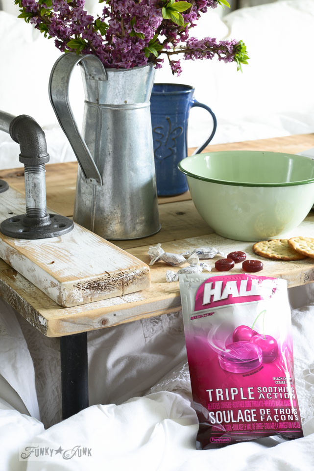 Halls drops / Springing up the bedroom with a pipe handled bed tray, via FunkyJunkInteriors.net