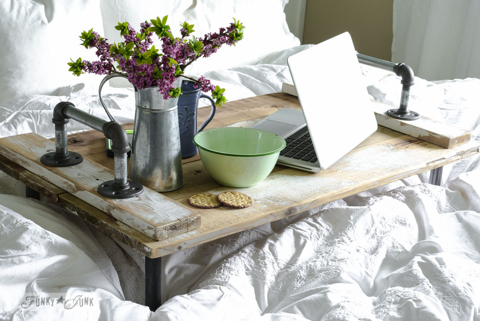 Reclaimed wood pipe handled bed tray by FunkyJunkInteriors.net