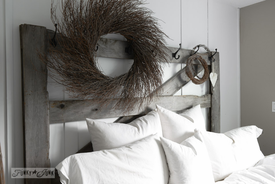 Horse gate headboard with fluffy white pillows / Springing up the bedroom with a pipe handled bed tray, via FunkyJunkInteriors.net