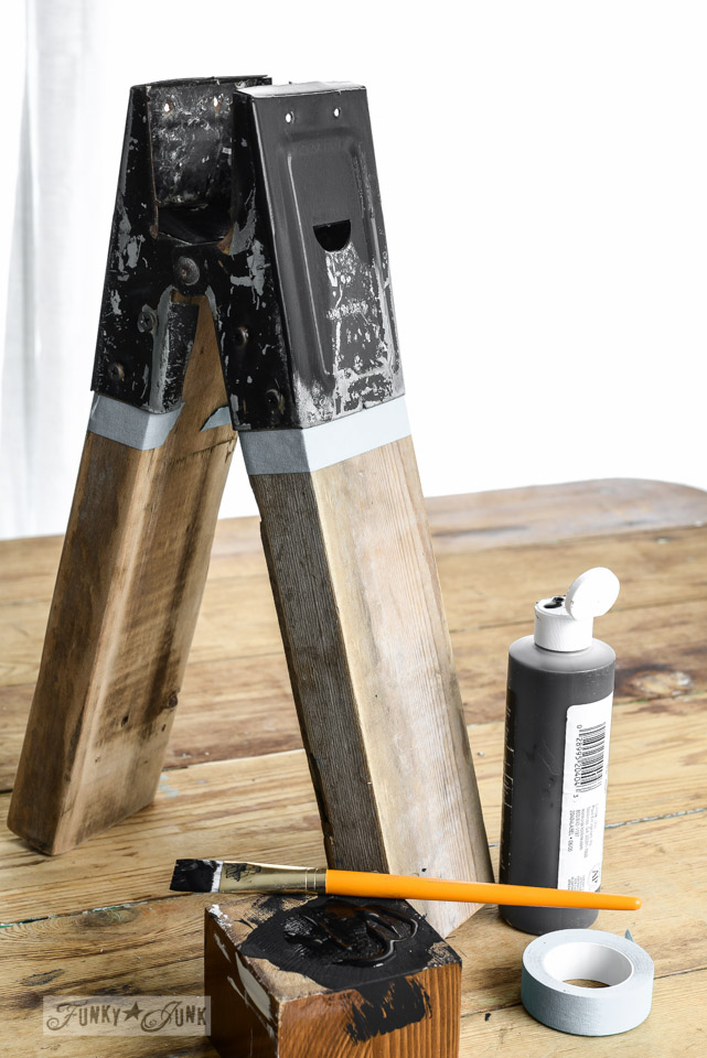 Sawhorse lamp base / Junky sawhorse pipe lamps with chalkboard lampshades via FunkyJunkInteriors.net