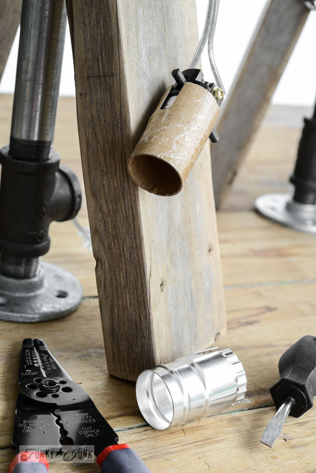 How to wire a lamp / part of Junky sawhorse pipe lamps with chalkboard lampshades via FunkyJunkInteriors.net