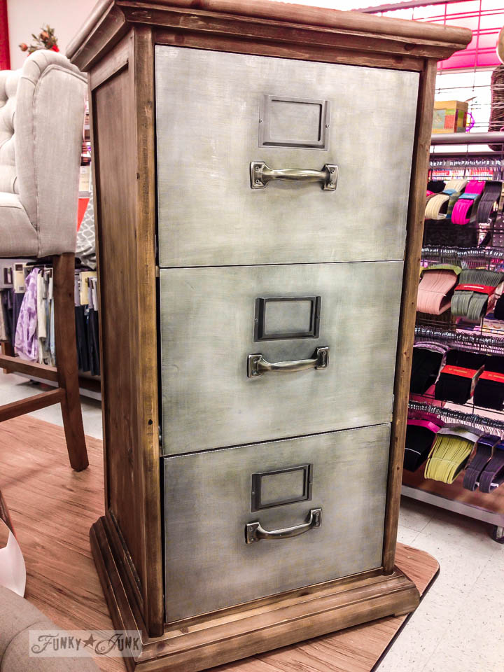 Metal and wood file cabinet in TJ Max / An impromptu family day in Washington via FunkyJunkInteriors