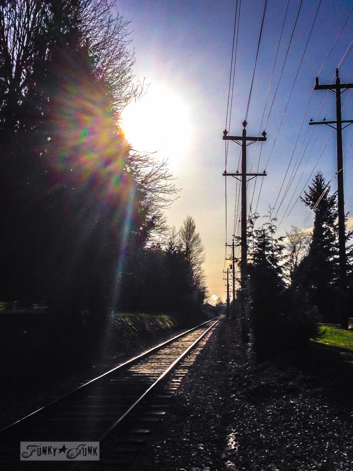 Train tracks at sunset / Walking and talking up and down the hill / a nature walk for working out via FunkyJunkInteriors