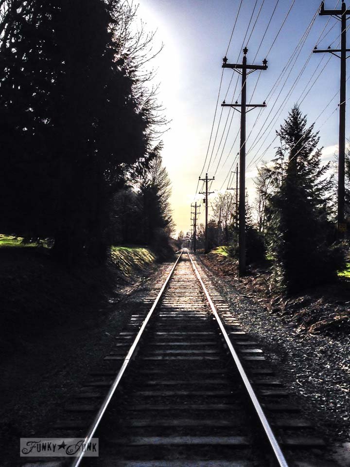 Train tracks / Walking and talking up and down the hill / a nature walk for working out via FunkyJunkInteriors