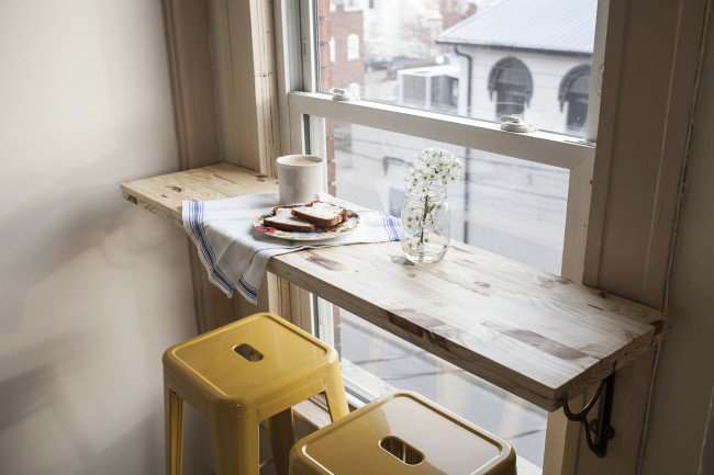 Cafe corner window seat by Offbeat and Inspired