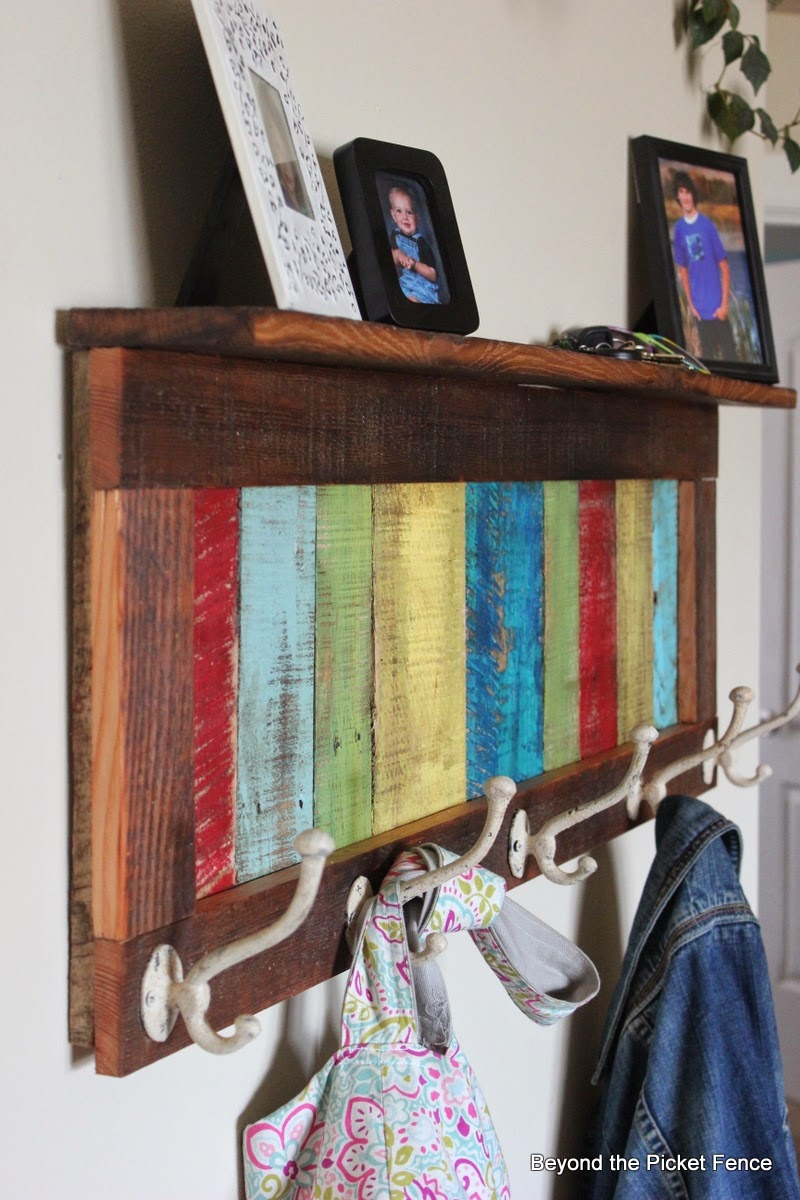 Colourful reclaimed wood coat hook by Beyond the Picket Fence