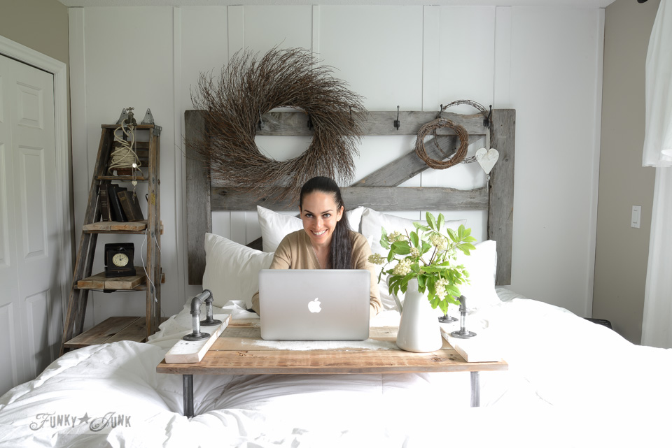 Farmhouse bedroom with horse gate headboard and ladder side table with Miriam of Hometalk, via FunkyJunkInteriors