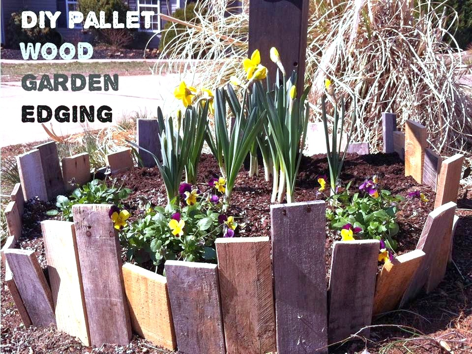 Pallet wood garden edging by Upcycled Stuff