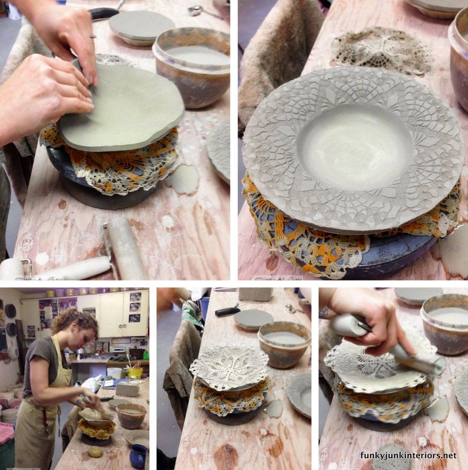 doily pressed pottery bowl