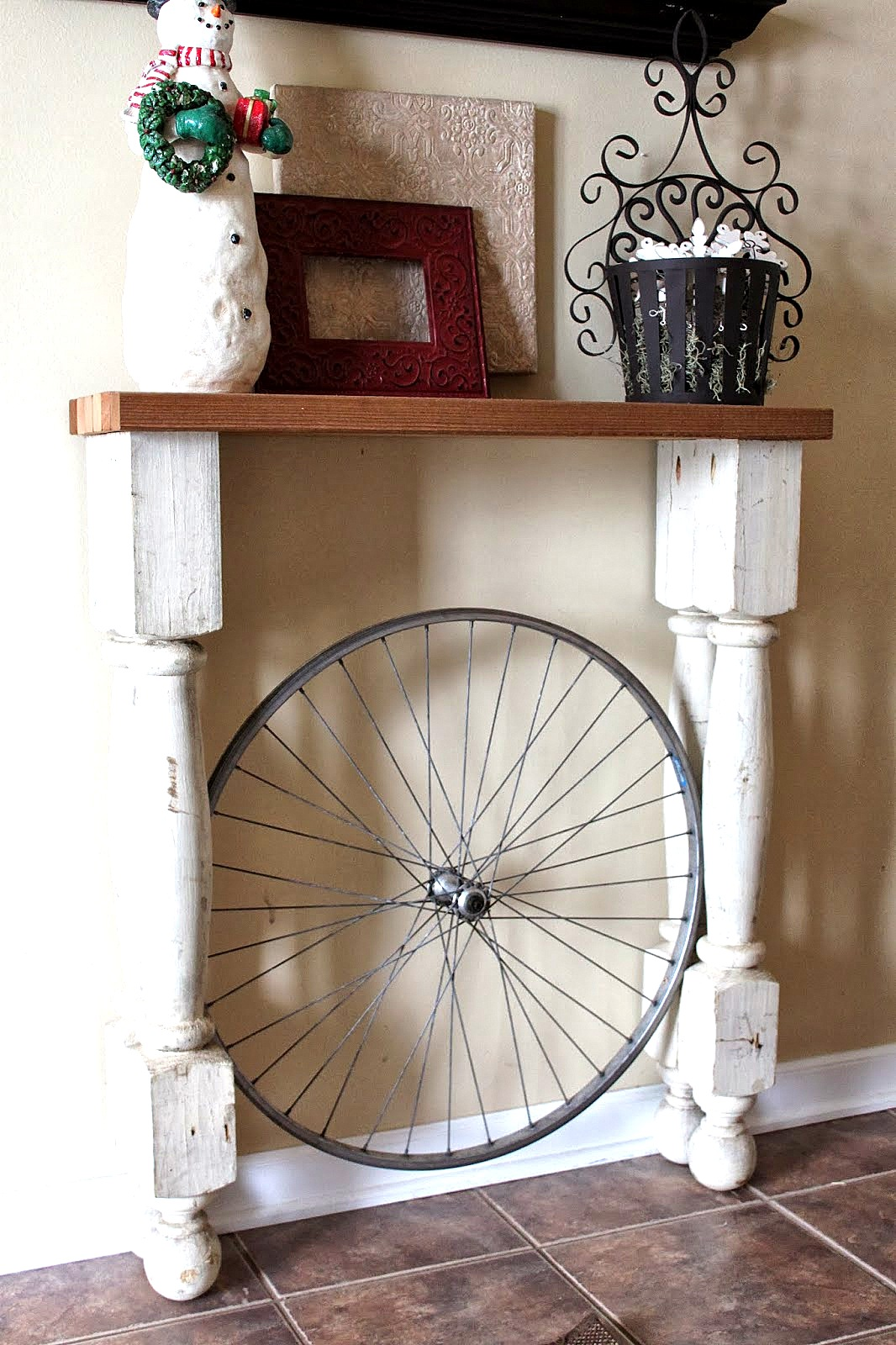 Bicycle wheel foyer table by Reinvented