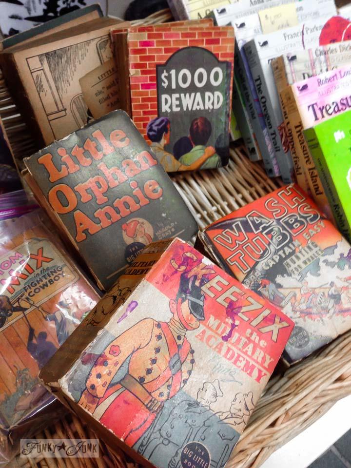 Tiny vintage storybooks / part of 3 days of fabulous junk shopping via FunkyJunkInteriors.net
