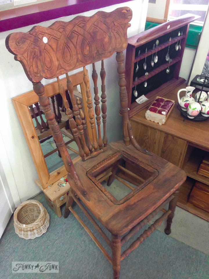 Pressed back vintage chair / part of 3 days of fabulous junk shopping via FunkyJunkInteriors.net