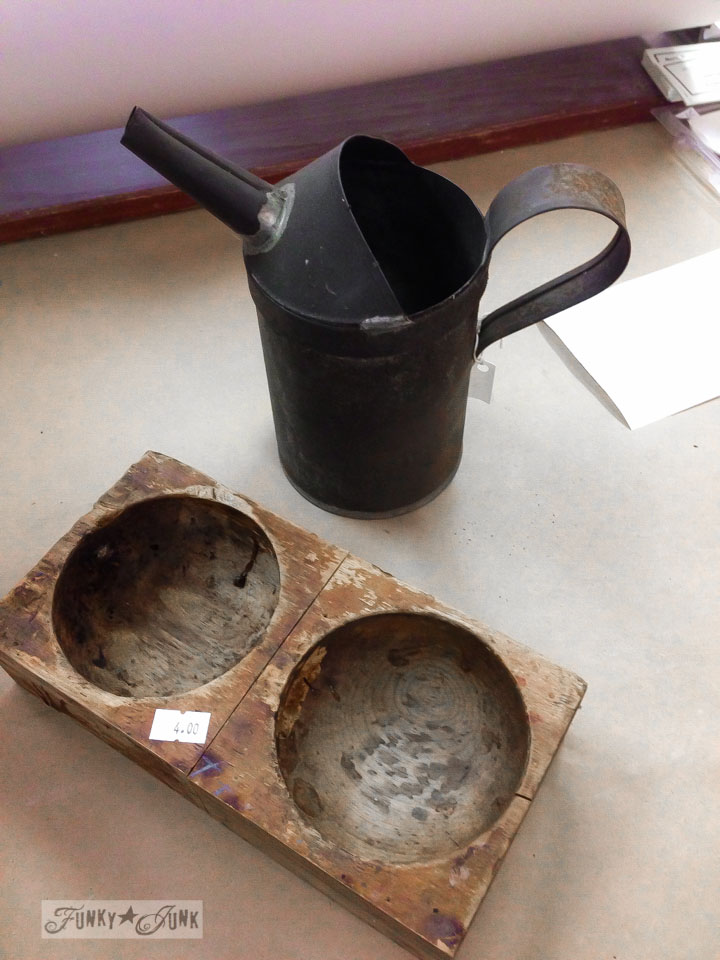 Oil can and carved wooden bowls / part of 3 days of fabulous junk shopping via FunkyJunkInteriors.net