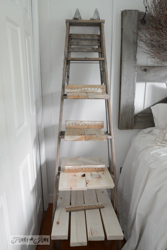 make an upcycled stepladder side table with shelves instantly Make Bedside Table