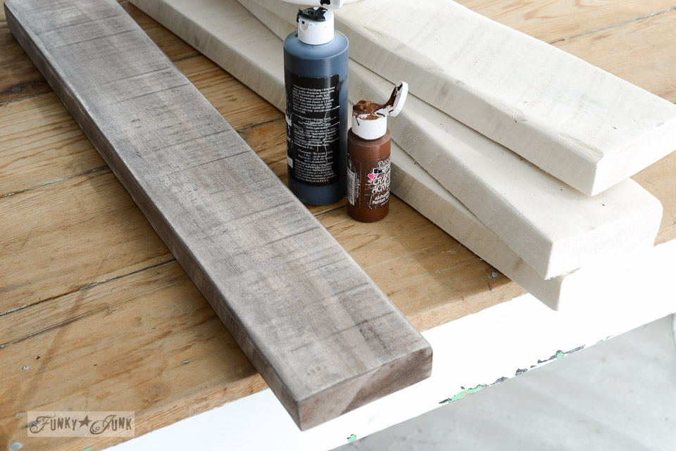 Staining boards with acrylic paint / Make a stepladder side table via FunkyJunkInteriors.net