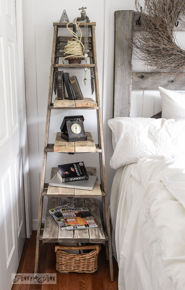 Ladder side table in bedroom via FunkyJunkInteriors.net