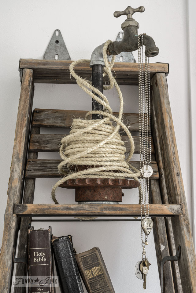 Tap and pipe jewelry holder in bedroom via FunkyJunkInteriors.net