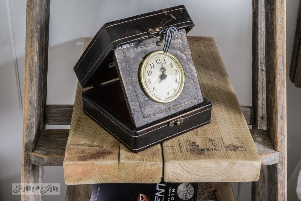 Clock in a box / Make a stepladder side table via FunkyJunkInteriors.net