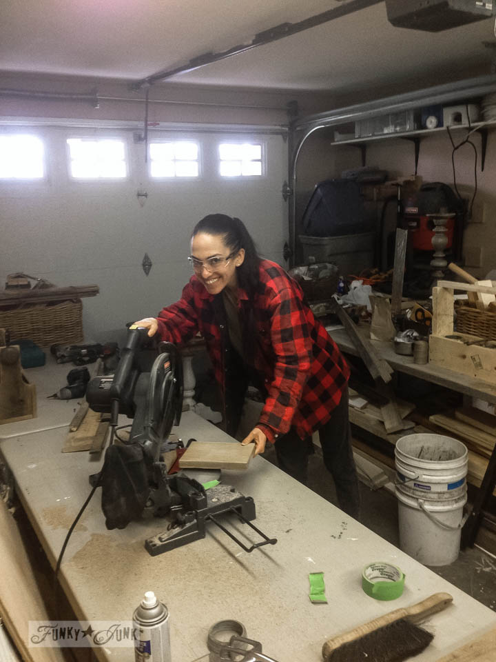 Miriam building a reclaimed wood toolbox