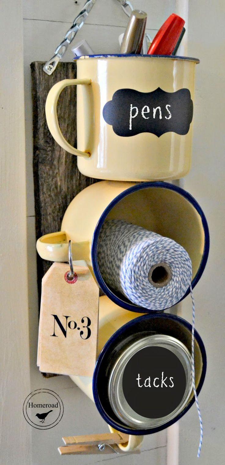 Enamel mug office organizer by Homeroad