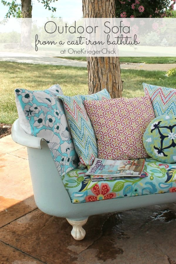 Outdoor sofa from a cast iron bathtub by One Krieger Chick