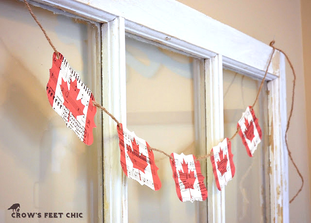 Canadian flag bunting by Crow's Feet Chic, featured on FunkyJunkInteriors.net