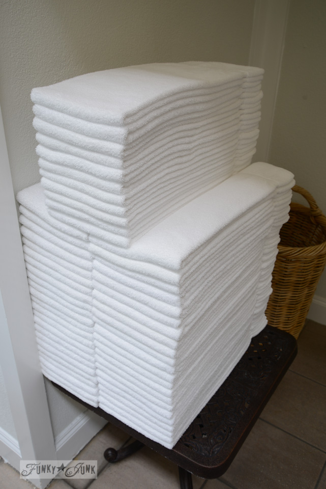 Piles of crisp white folded towels / Things we didn't know about SNAP's Little America hotel, via FunkyJunkInteriors