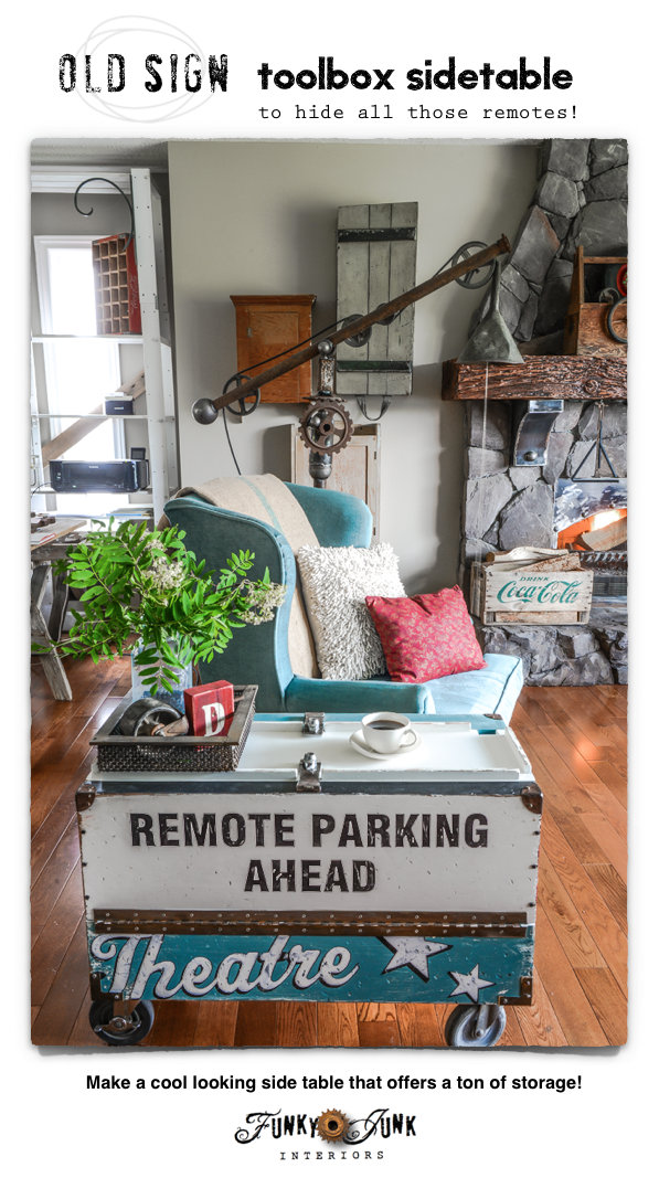 An old sign toolbox side table to hide all those remotes! via FunkyJunkInteriors.net