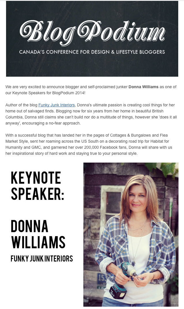 Keynote speaker, BlogPodium, Toronto, Me? Yes! - my next adventure to a Canadian blog conference via FunkyJunkInteriors.net
