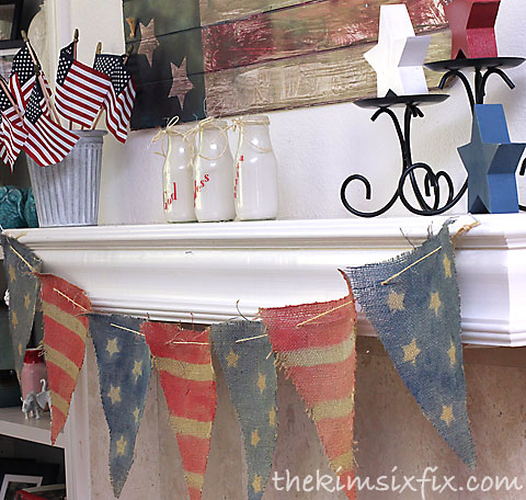 Americana mantel with burlap bunting by The Kim Six Fix, featured on FunkyJunkInteriors.net