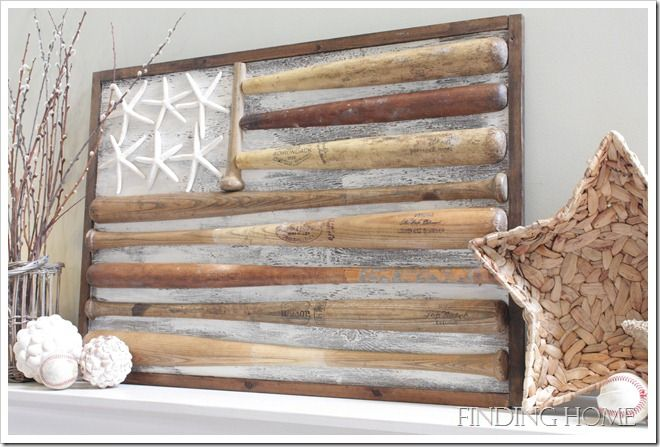 Baseball bat flag by Finding Home, featured on FunkyJunkInteriors.net
