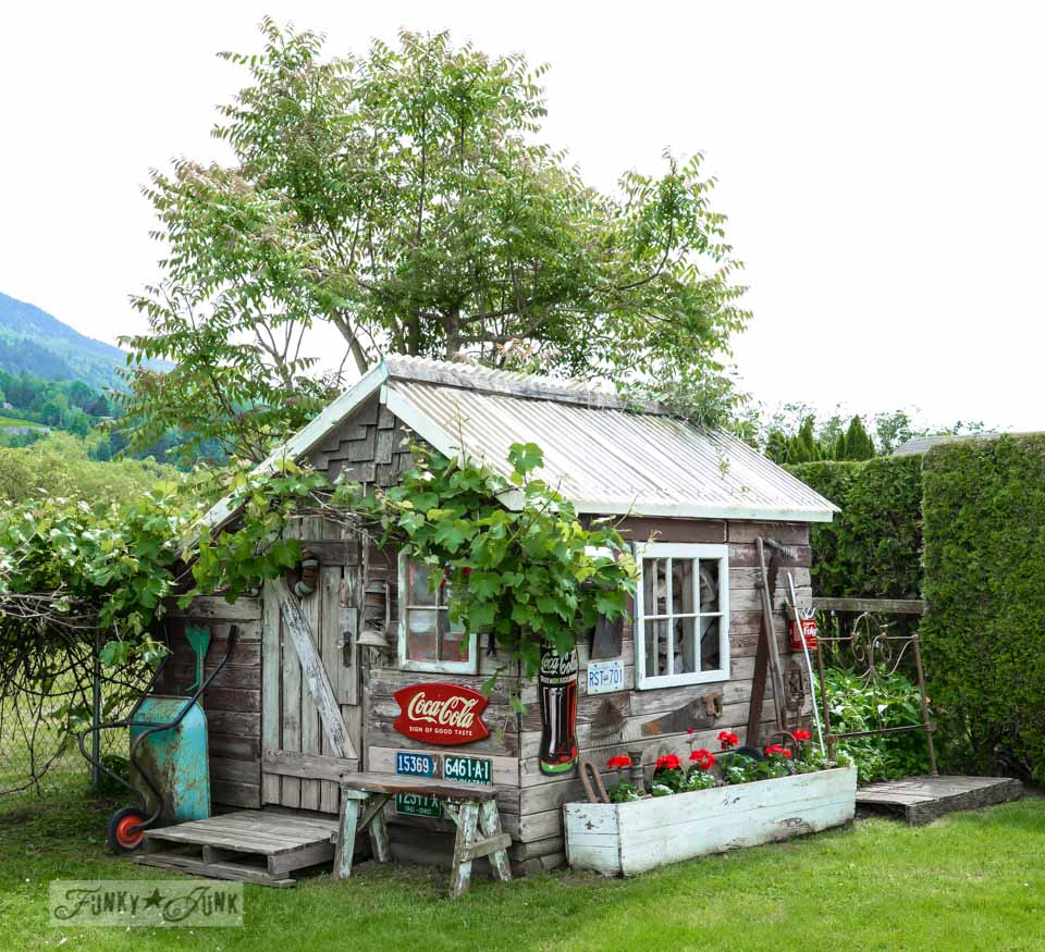 rustic garden shed in the backyard with old signs and red geraniums / funkyjunkinteriors.net