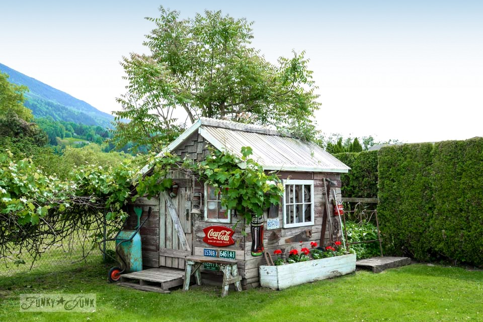 Rustic garden shed from reclaimed wood on FunkyJunkInteriors.net