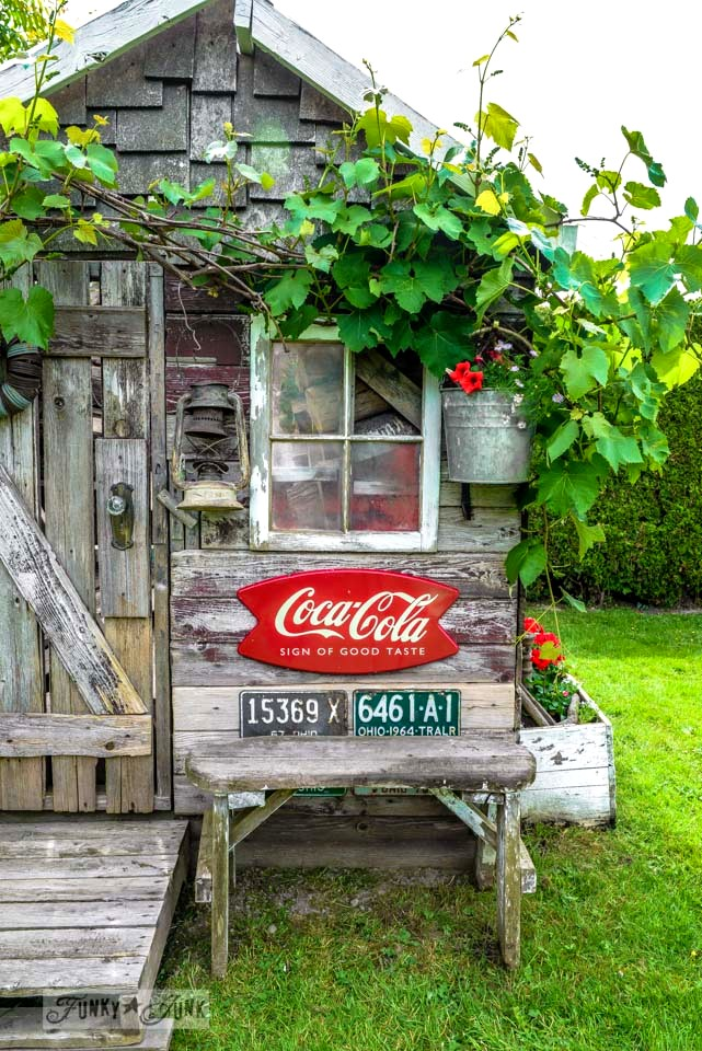 Coke sign and vintage license plates / Rustic garden shed with old signs, tools and a grapevine, on FunkyJunkInteriors.net