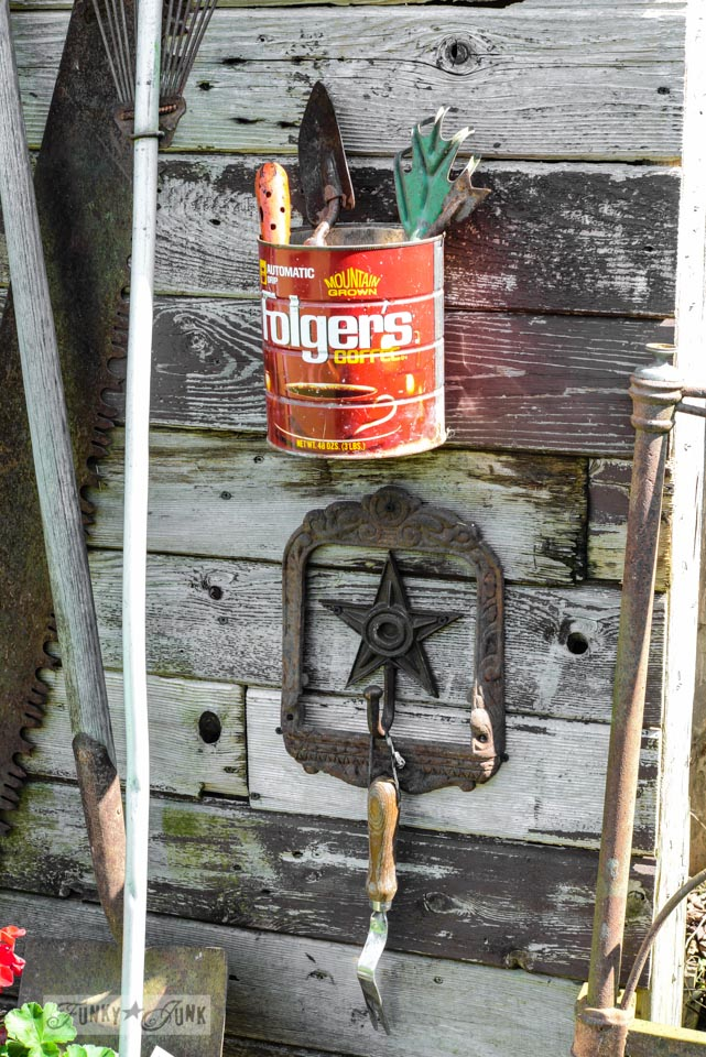 Vintage garden hand tools in an old Folger's coffee can via FunkyJunkInteriors.net