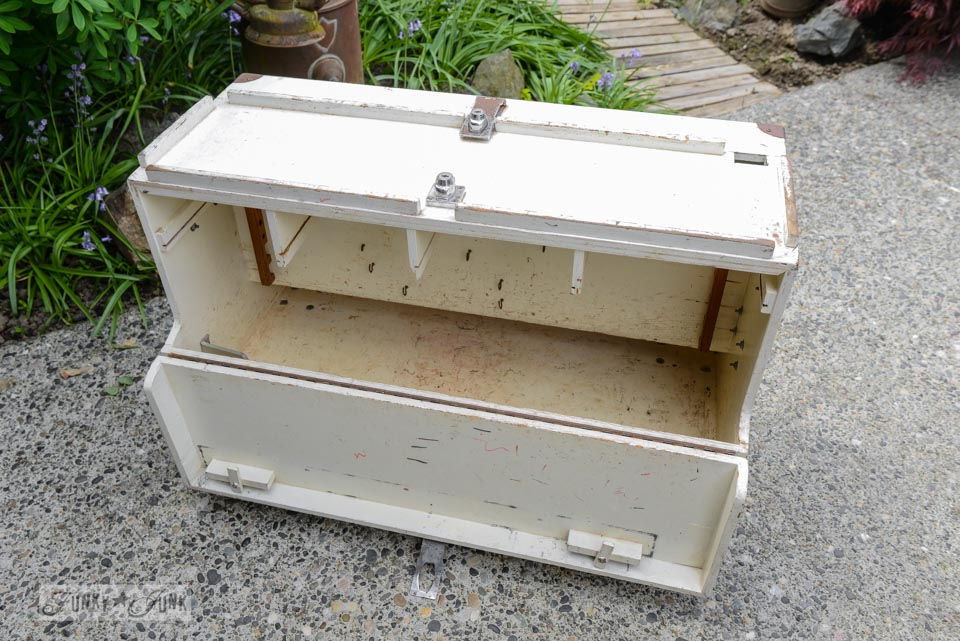 Toolbox before / A signed up toolbox side table to hide all those remotes! via FunkyJunkInteriors.net