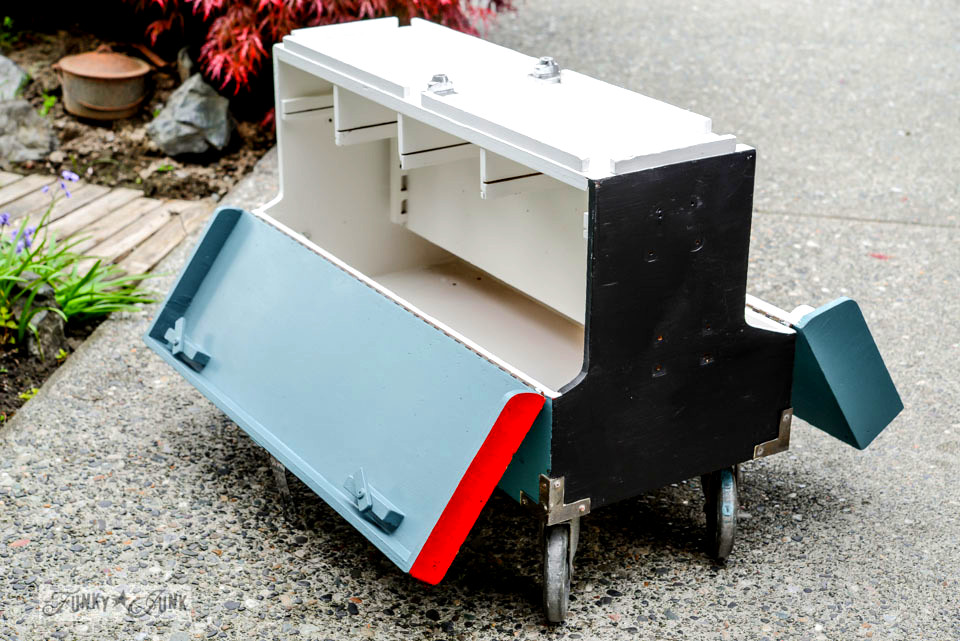 A colourful toolbox painted with Glidden paint / FunkyJunkInteriors.net