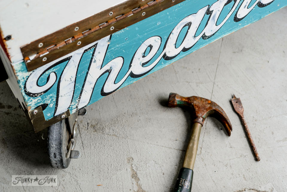 Making old signs on the side of a vintage toolbox on FunkyJunkInteriors.net