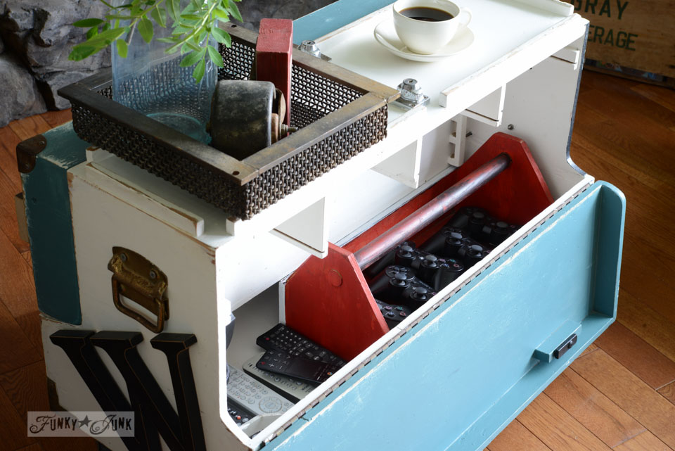 Toolbox side table for remotes / How to marry high tech with an upcycled twist on FunkyJunkInteriors.net