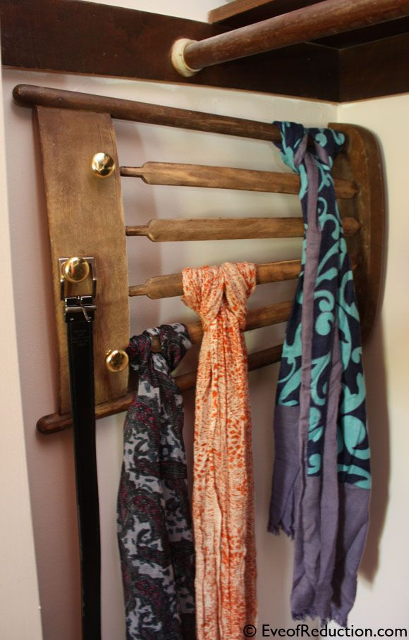 Back of chair tie storage by Eve of Reduction, featured by Mrs. Hines' Class on FunkyJunkInteriors.net