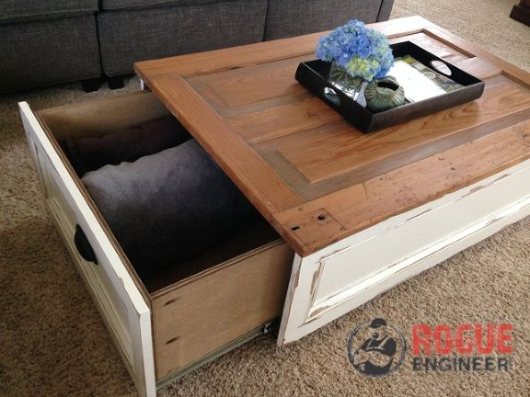 Drawer styled old door coffee table by Rogue Engineer, featured on FunkyJunkInteriors.net