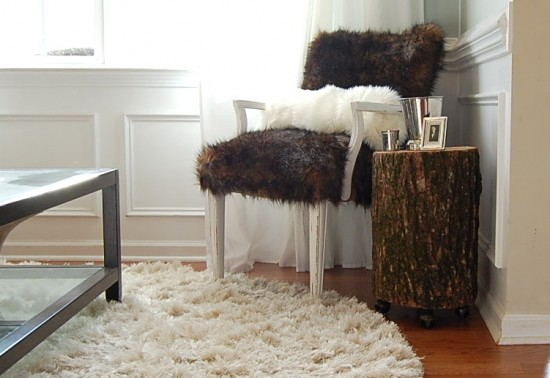 Stump side table on wheels by Nesting Place