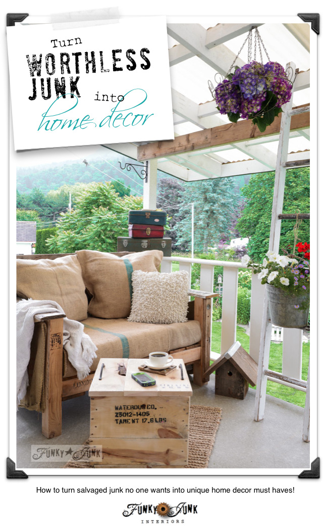 How to turn worthless junk into home decorating must haves! Plus a new crate table! via FunkyJunkInteriors.net