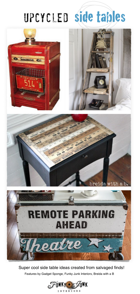 Upcycled side tables - from anything! Cool features and a linkup on FunkyJunkInteriors.net