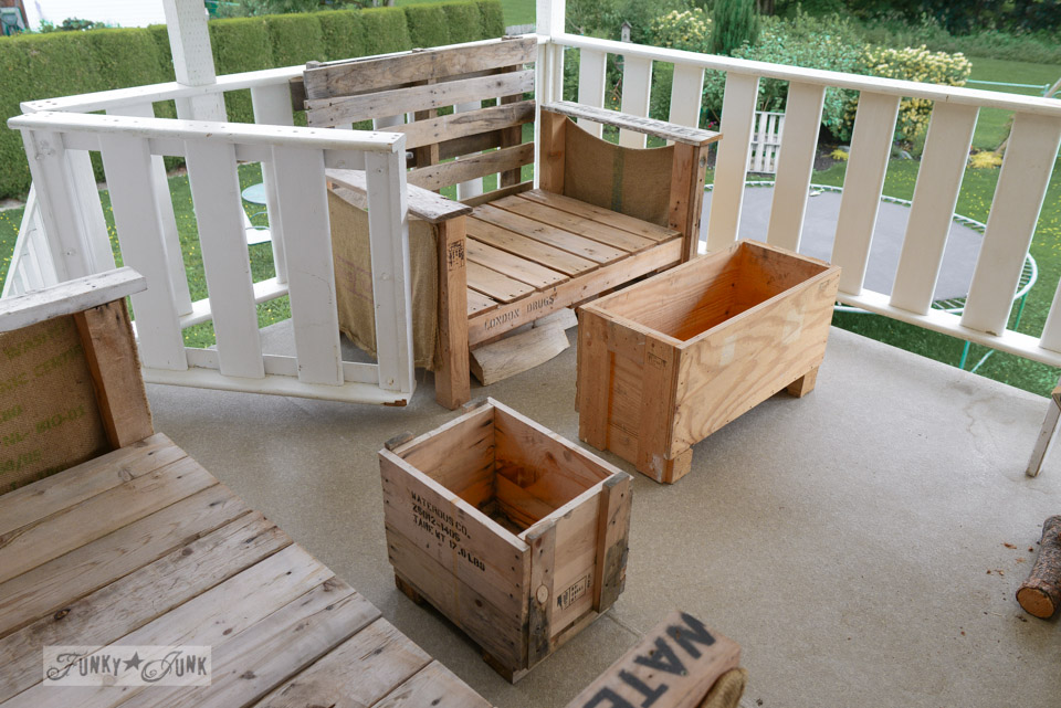 Empty crates / How to make a crate side table with tray via FunkyJunkInteriors.net
