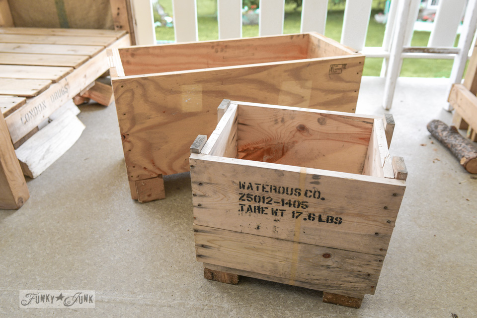 How to make a crate side table with tray via FunkyJunkInteriors.net