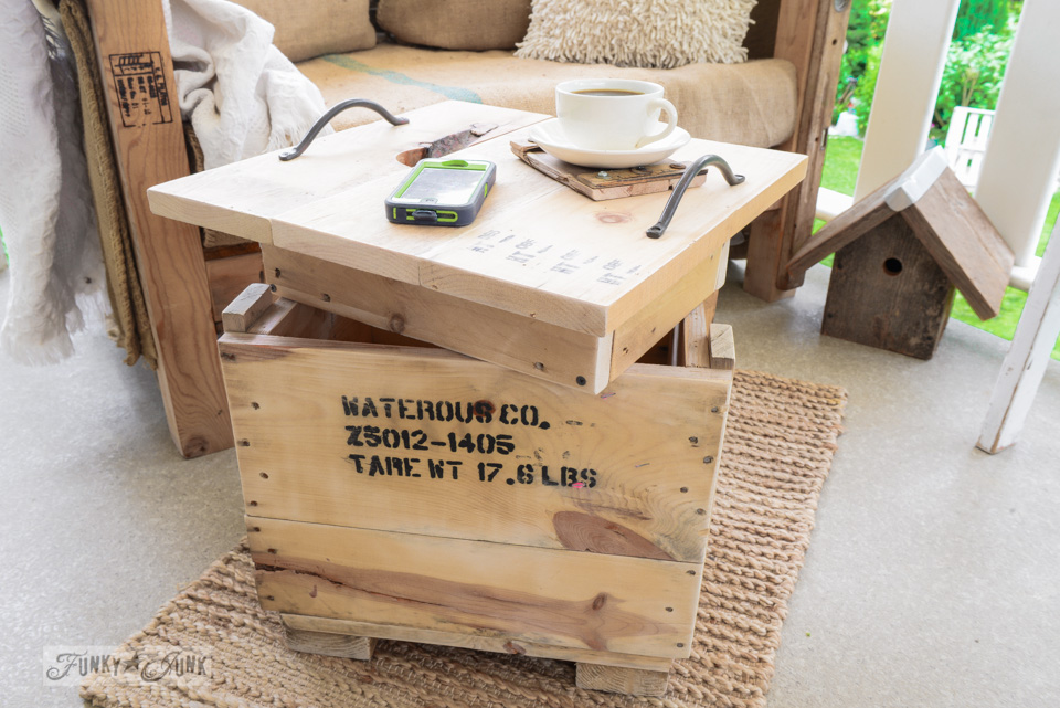 Adjustable heights / How to make a crate side table with tray via FunkyJunkInteriors.net