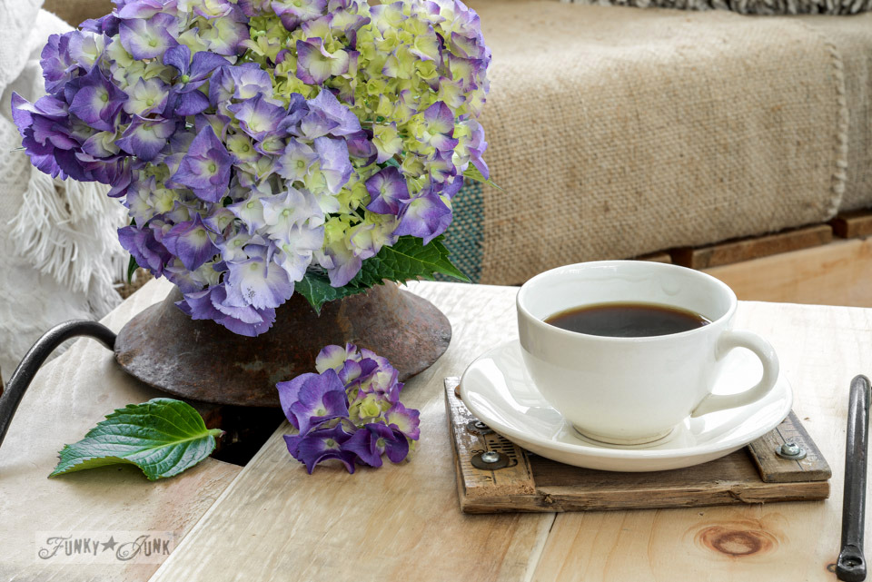 Hydrangeas with a coffee / How to make a crate side table with tray via FunkyJunkInteriors.net