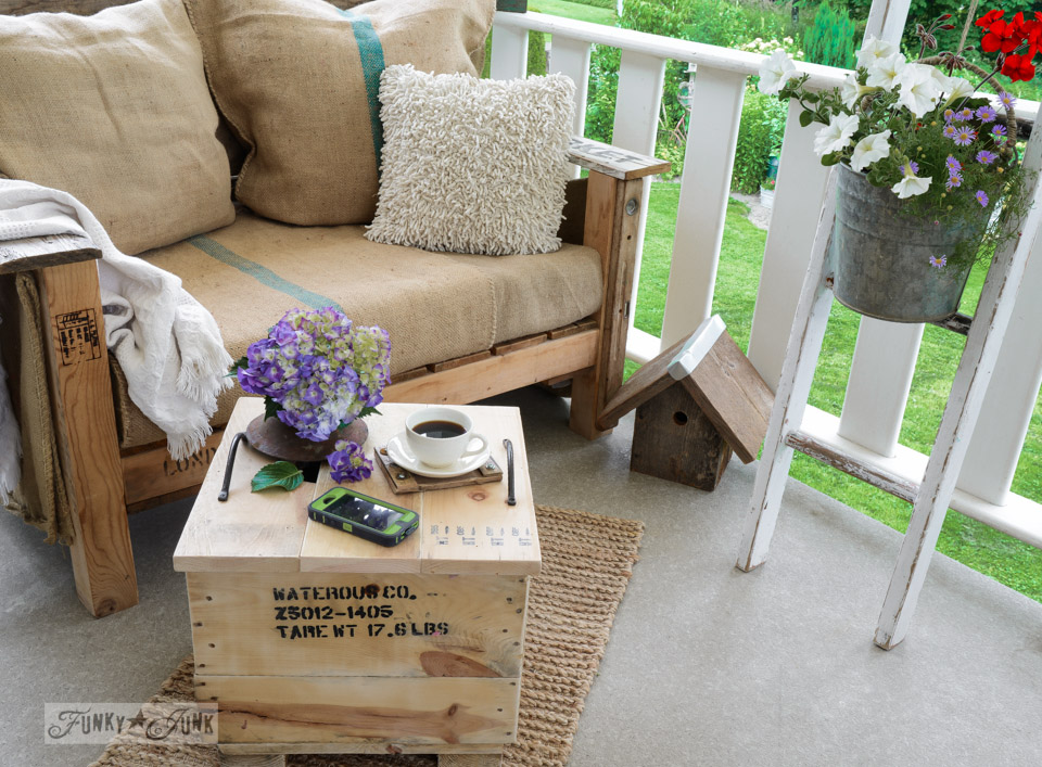 Crate side table on a porch / How to make a crate side table with tray via FunkyJunkInteriors.net