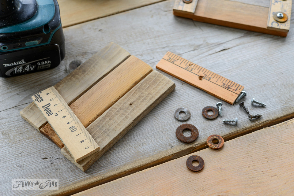 Gifts under 5$ - make these junk style reclaimed wood yardstick coasters - via FunkyJunkInteriors.net